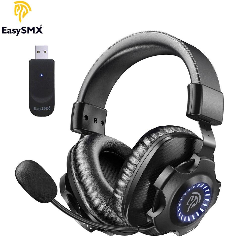 EasySMX V07W سماعة رأس لاسلكية سماعة الألعاب مع ميكروفون الظاهري 7.1 RGB ستيريو إلغاء الضوضاء سماعات لأجهزة الكمبيوتر PS4