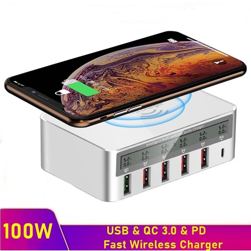 Tongdaytech 100 واط 5 منفذ USB سريع متعدد شاحن LCD تهمة سريعة PD QC 3.0 شاحن لاسلكي آيفون 8 X سامسونج شاومي هواوي