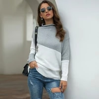 boozrey long sleeved sweater for the fall of 2021 the latest irregular sleeves curled half high collar contrast pullover sweater