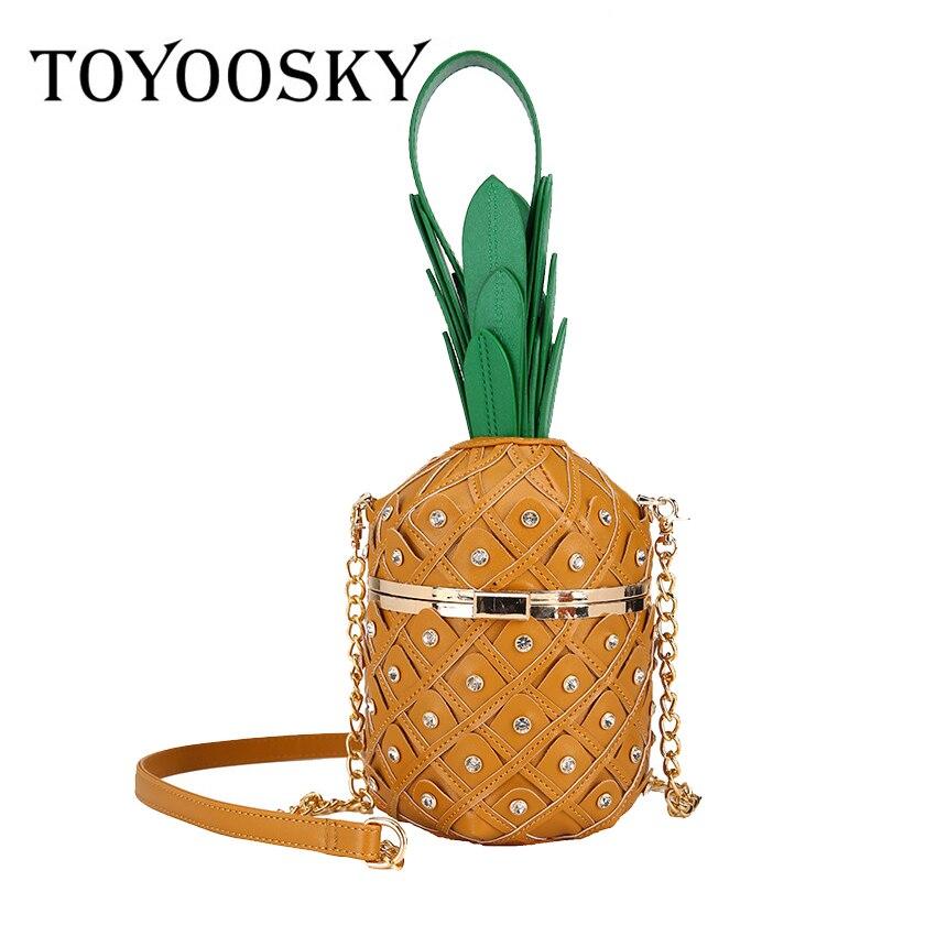 TOYOOSKY, bolso de fiesta de moda de piel sintética con forma de piña, bolso de hombro, monederos con cadena, bolsos cruzados