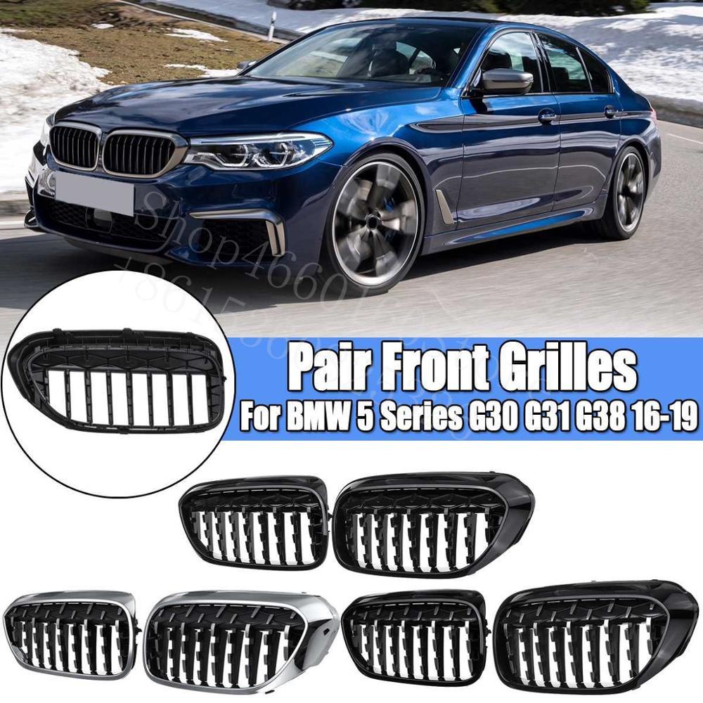 Puou alta calidad 2 uds rejillas tipo riñón para parachoques frontal para BMW serie 5 G30 G31 G38 2016-19 carreras de coche parrillas