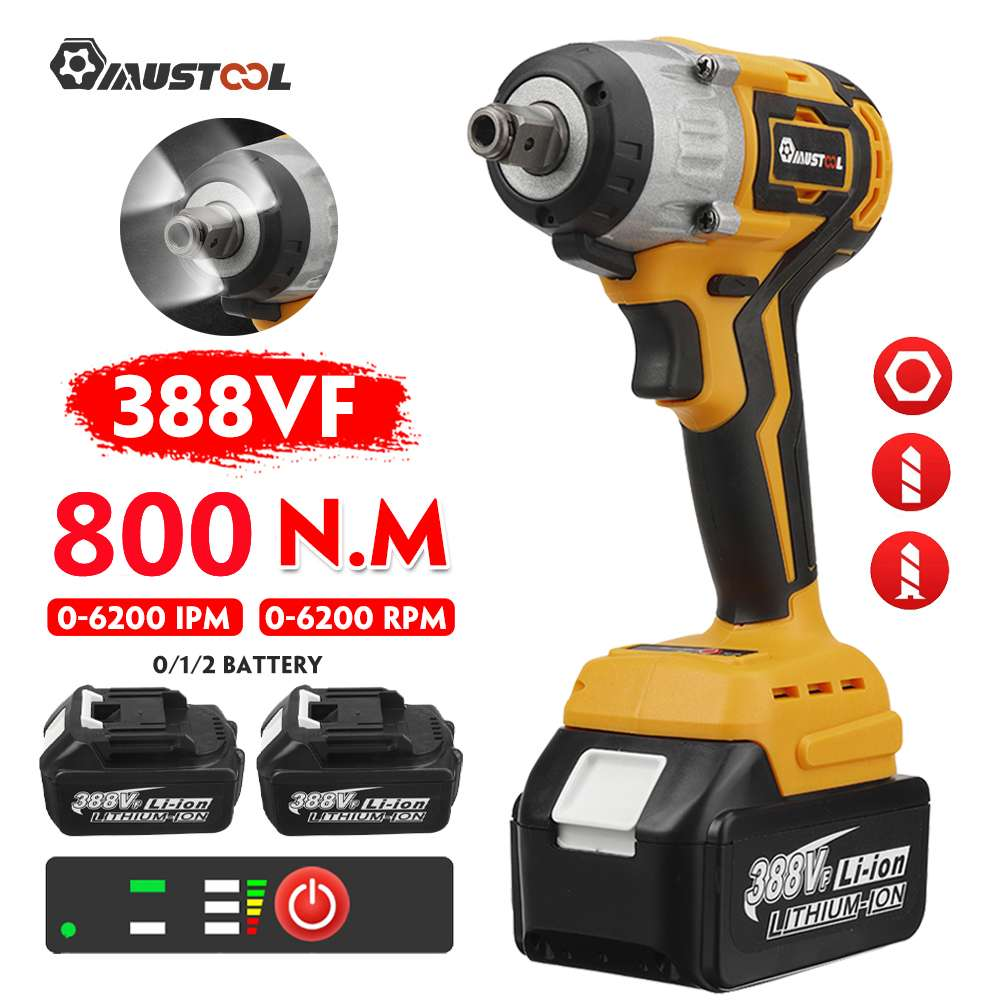 """MUSTOOL 800N.M Torque Cordless Electric Impact Wrench 1/2"""" Brushless Electric Screwdriver Power Tools For Makita 18V Battery"""