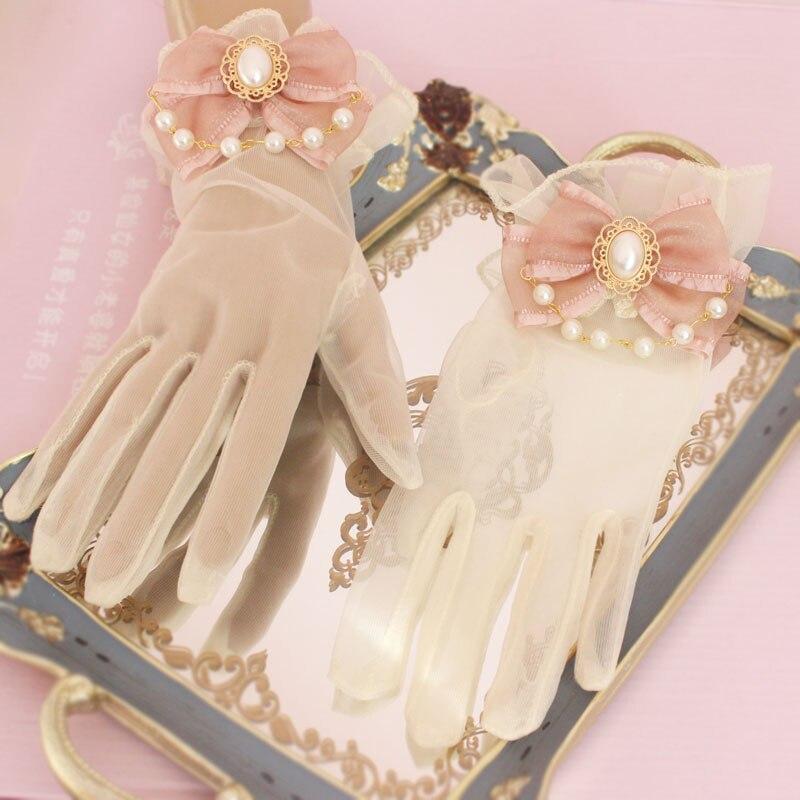 Guantes Retro Para fiesta de té, novia, boda, Princesa, cadena de perlas, Lolita, Chica Elegante preciosa, lazo de Hada, guantes de puño de mano 1 par