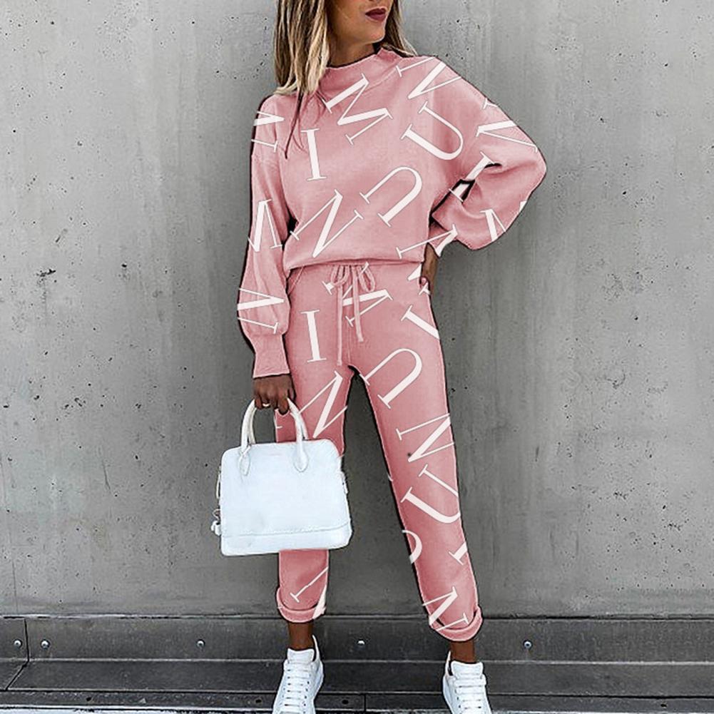 Женский спортивный костюм с буквенным принтом, топ на завязках