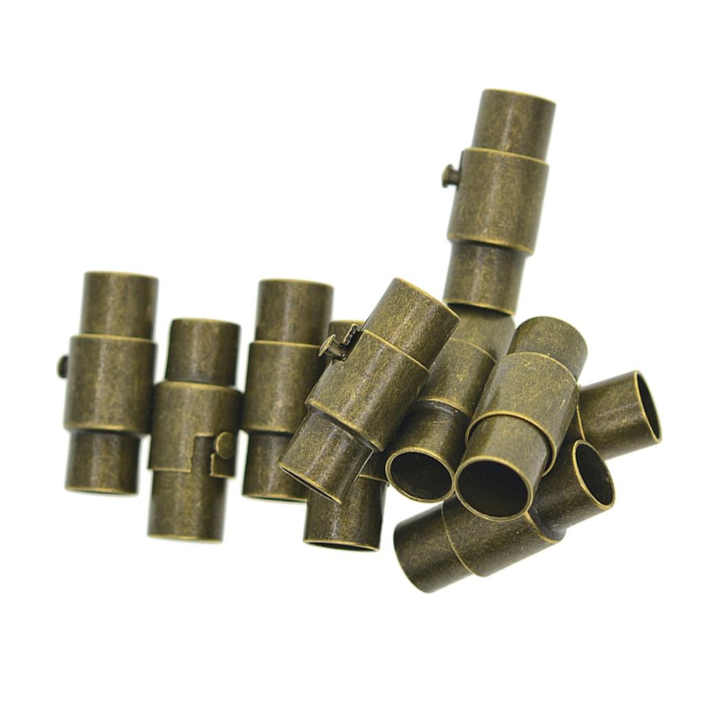 Juego de 10 conectores de tapa de tubo de pegamento de 4mm y 5mm para pulsera de cuero, cuerda de Kumihimo