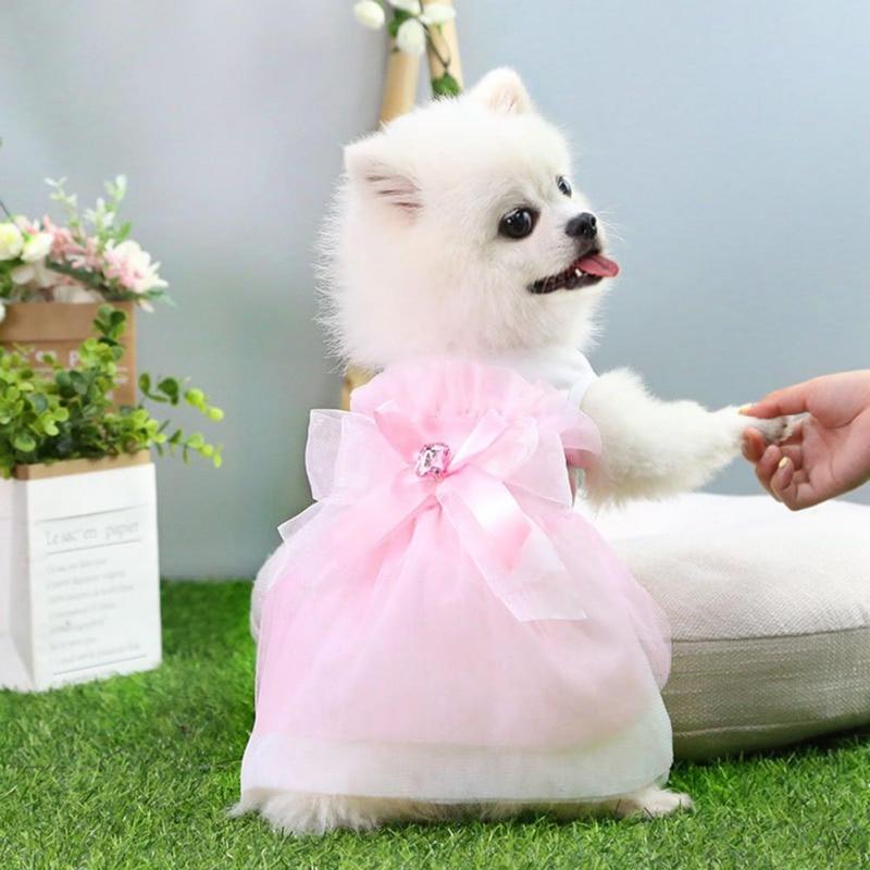 Spring And Summer New Lace Princess Dress Classics Romantic Pet Wedding Dresses Big Bow-knot Dog/Cat Skirt Pet Supplies