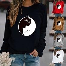 4 # femme t-shirts harajuku roupas femininas loisirs chat impression à manches longues col rond décontracté hauts amples femme t-shirts