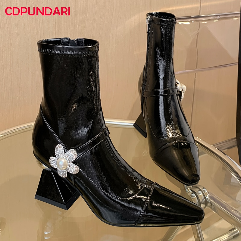 Rhinestone Flowers White Black White Patchwork Genuine Leather High Heels Ankle Boots Women Autumn Winter Short Boots Shoes