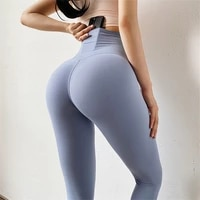 soft naked feel nylon athletic fitness leggings with pocket women stretchy squat proof gym sport tights yoga pants