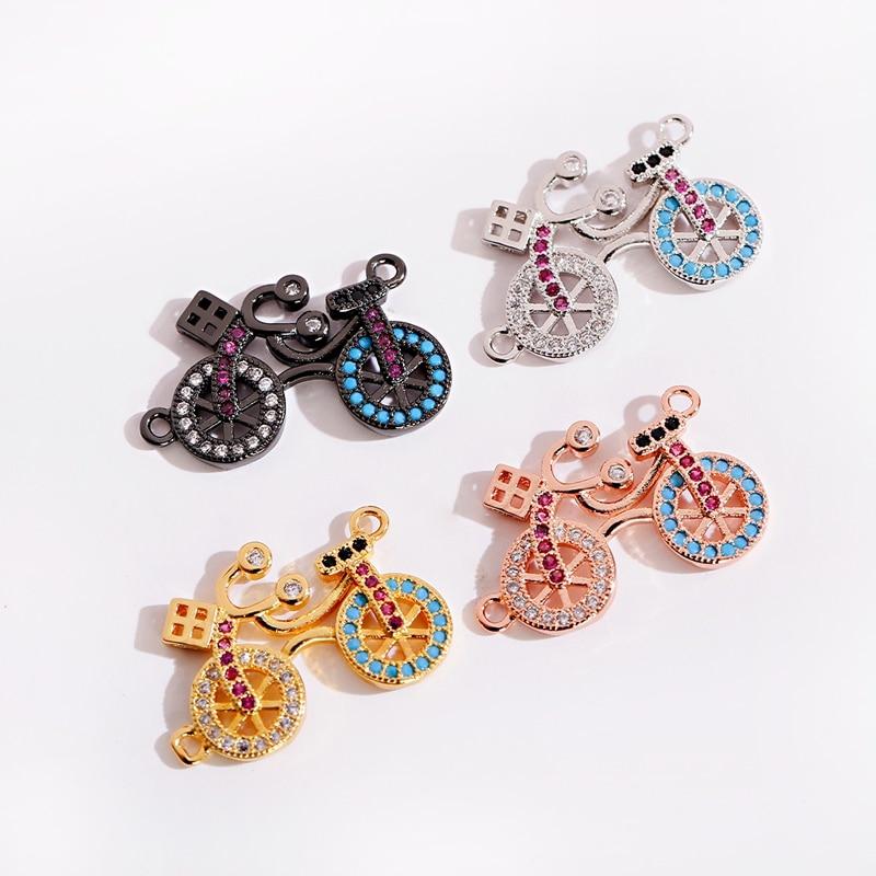 Charme bicicleta contas de cobre diy acessórios 2020 clássico zircão cristal beadwork jóias fazendo