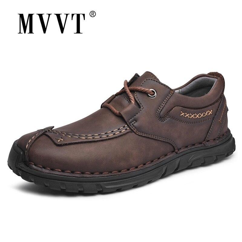 جديد الخريف أحذية من الجلد غير رسمية الرجال مريحة في الهواء الطلق حذاء رجالي جلد الانزلاق على تنفس حذاء مسطح Loafers البيع المتسكعون
