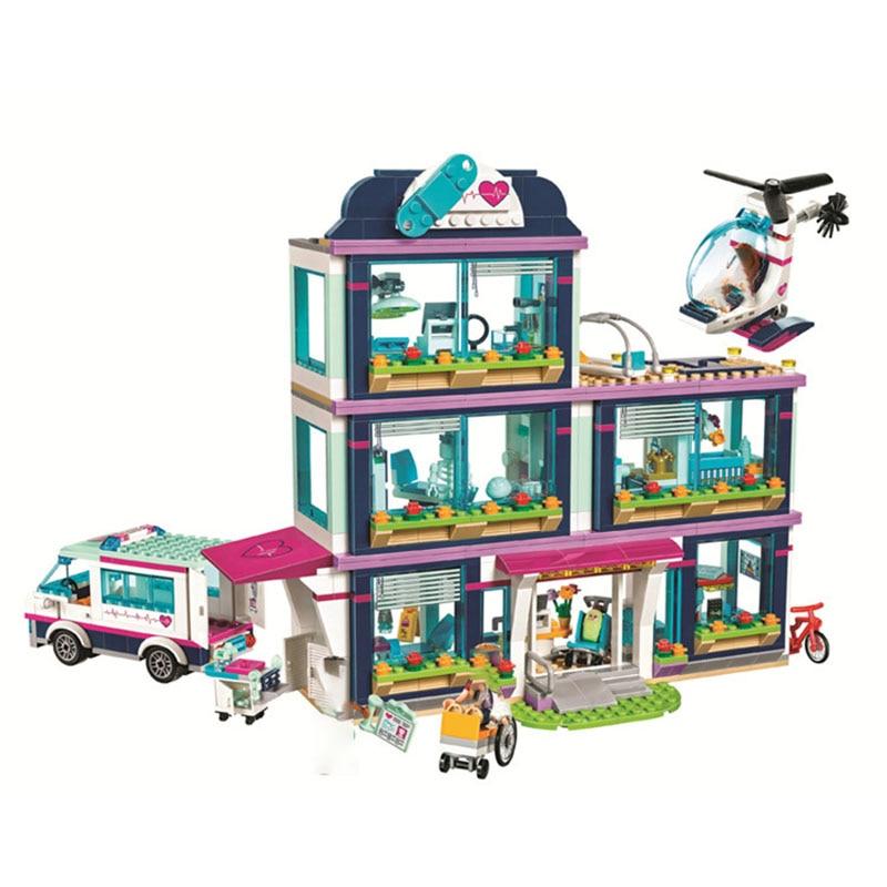 Juego de bloques de construcción de la serie Bole 887 Uds., Escena de Hospital Heartlake City, modelo ensamblado DIY, juguetes educativos para niños