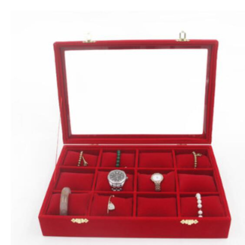 Caja de reloj organizador 12 ranuras relojes soporte de almacenamiento de joyas terciopelo suave almohada vitrina con vitrina de cristal superior pulseras