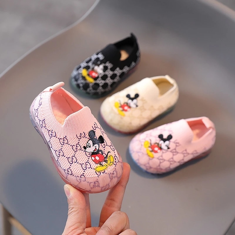 Disney Cute Fashion Children Casual Shoes Slip on Lovely Boys Girls Single Shoes Infant Tennis Breathable Kids Sneakers