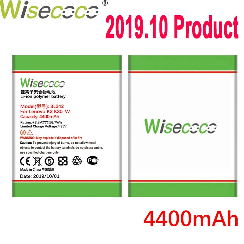 WISECOCO 4400 мАч BL242 батарея для Lenovo K3 K30-W K30-T A6000 A3860 A3580 A3900 A6010 A6010 Plus мобильный телефон + номер отслеживания