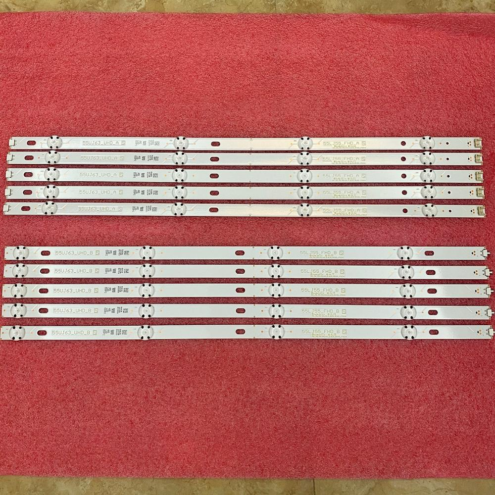 10 قطعة/المجموعة LED الخلفية قطاع ل LG 55UJ635V 55UJ6307 55UJ634V 55UJ630V 55UJ635 SSC_55LJ55/55UJ63_B A Eav63632405 EAV63673005