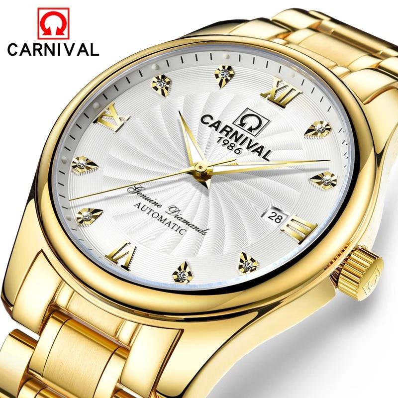CARNIVAL Gold Automatic Watch Men Luxury Brand Waterproof Fashion Luminous Business Mechanical Wristwatch 2021 Relogio Masculino