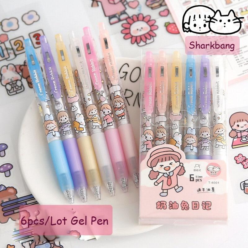 Гелевая ручка Sharkbang 6 шт./лот 0,5 мм, черная, с кремом, Кроликом, для девочек, кавайная школьная Канцелярия