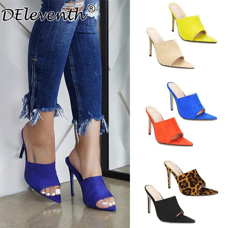 New brand design Sandals Candy Leopard Slippers Large Women Shoes Size 43 High Heel Sandals CECE MULE blue orange black yellow