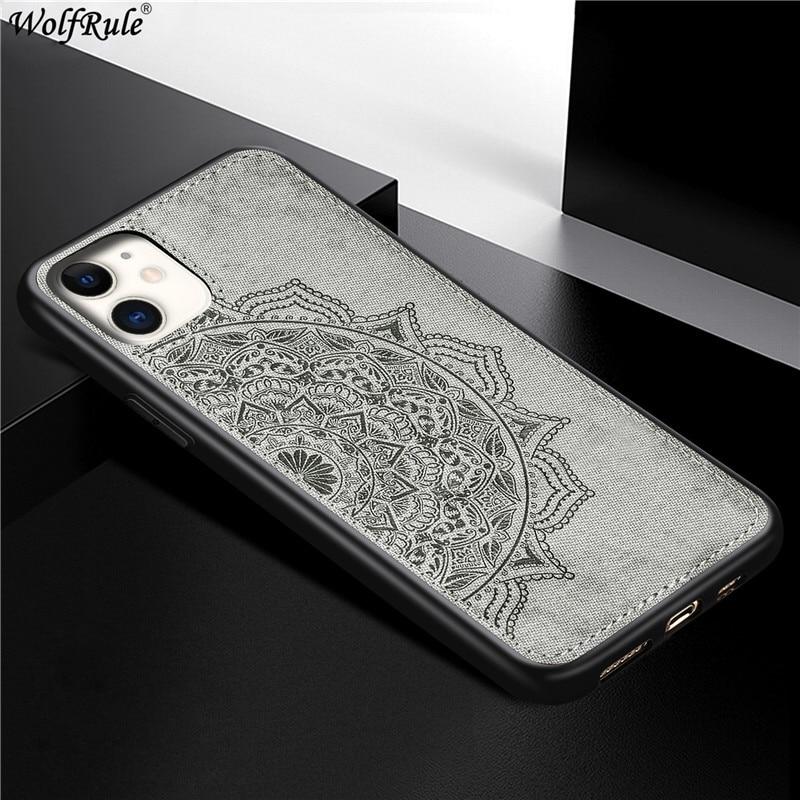 "Capa para iphone 11 6.1 ""capa dura para iphone 11 shcokproof tpu macio textura de tecido capa para apple iphone 11 fundas"
