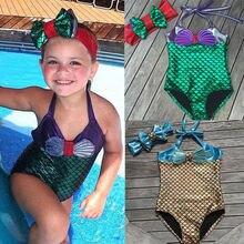 Maillot de bain sirène pour filles, ensemble une pièce mignon sous-vêtements mayo avec nœud