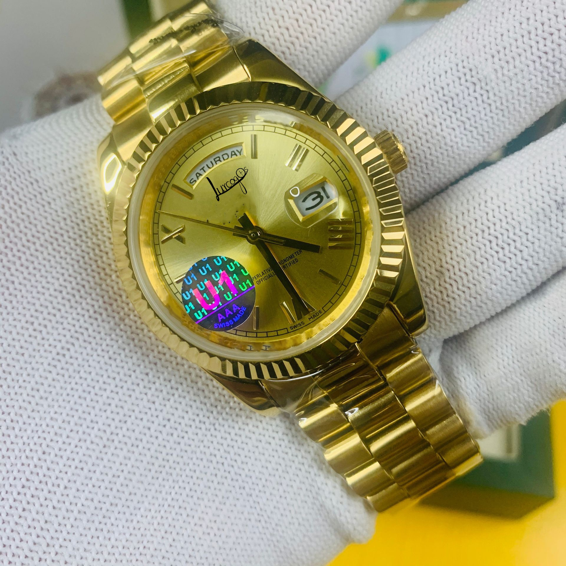 18k gold watch 40mm size AAA men's luxury watch date automatic winding mechanical sliding surface smooth second hand free deliv