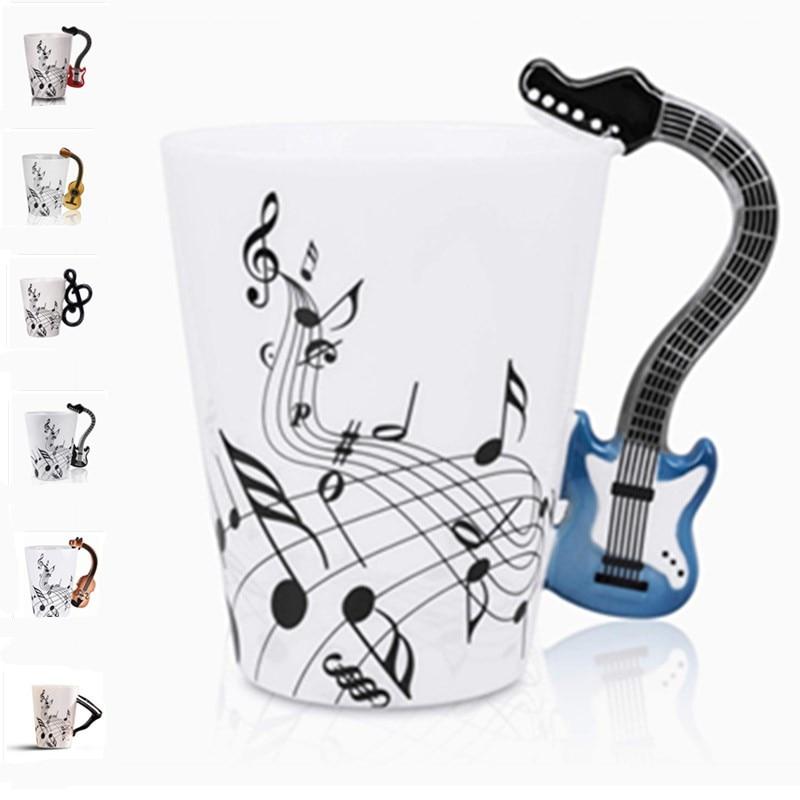 400 ml música caneca de café grande capacidade violino guitarra lidar com canecas de cerâmica chá copo de leite caneca de café design criativo novidade presente