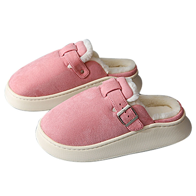 new fashion winter women men slippers bottom soft home shoe cotton thick slippers indoor slip on comfortable shoe slippers Women Warm Home Thick Slippers Soft Comfortable Winter Slippers Girl Cotton Shoes Indoor Plush Slippers