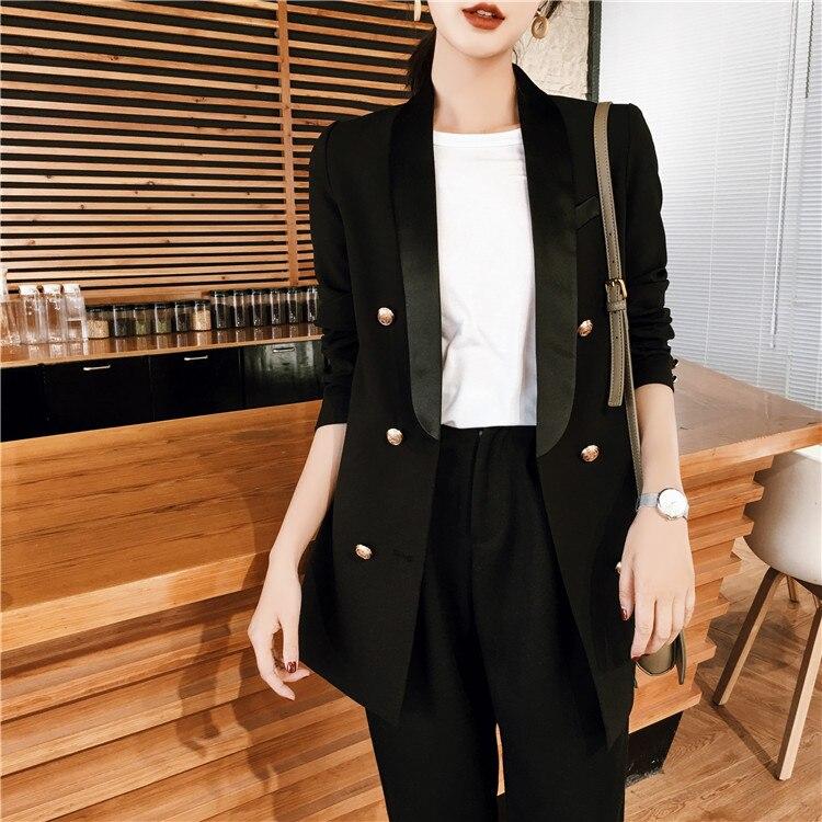 جاكيت مكتب نسائي بجيوب ، جاكيت ، معطف ، ملابس خارجية ، جودة عالية ، أسود ، 2019