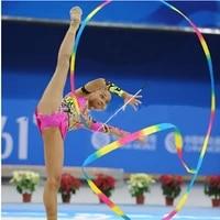 2021 hot 2m4m colorful gym dance rhythmic art gymnastic ribbons ballet streamer twirling rod stick for training