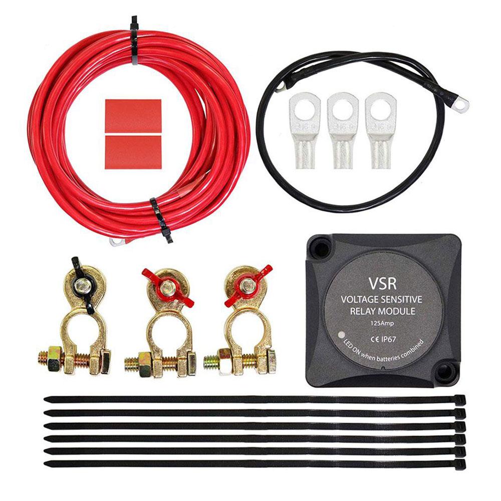 Iztoss 12V batería Dual sistema auxiliar aislador relé sensible a voltaje y Kit de cableado