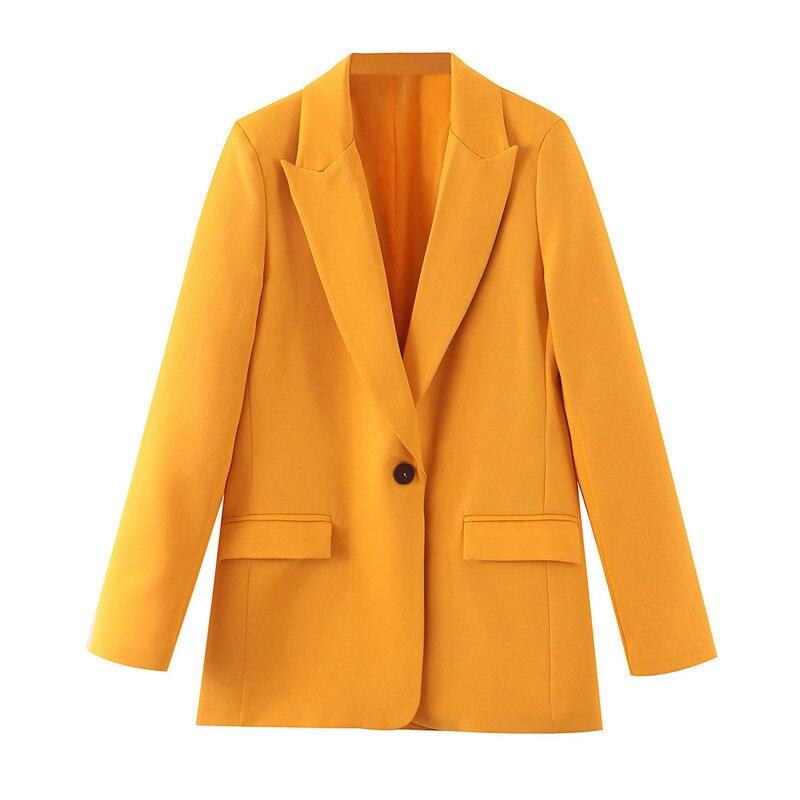 بليزر نسائي بأكمام طويلة ، جاكيت أنيق بجيب ، زر واحد ، ملابس خروج غير رسمية ، معطف