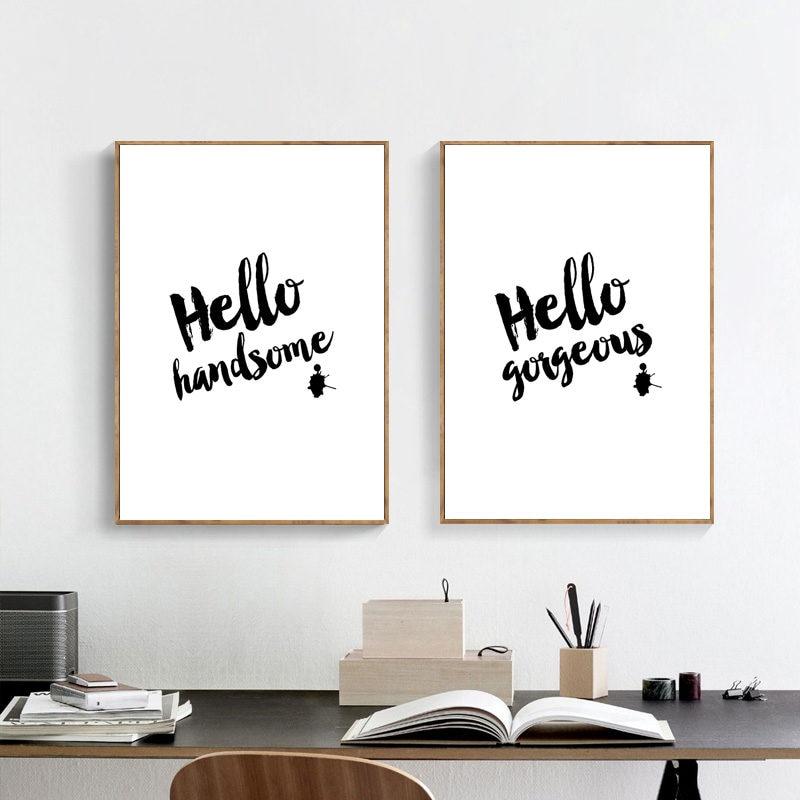 Preto branco citação decoração da parede pintura em tela cartaz olá lema imagem da lona decoração da parede impressão em tela cartaz hd2180