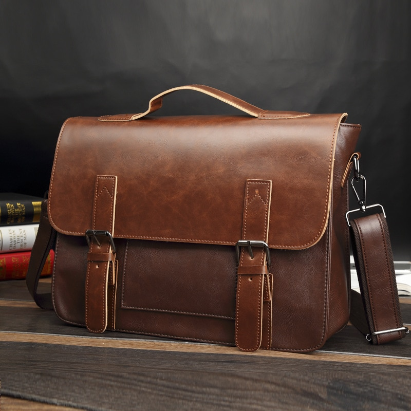 Mens Cowhide Leather Briefcase Genuine Handbags Crossbody Bags High Quality Luxury Business Messenger Laptop