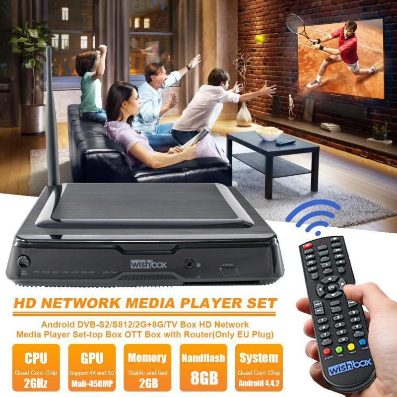 Set Top Box DVB-S2 Decoder Android TV Box 802.11 b/g/n Amlogic S812 2G+8G Media Player 2G DDR3 8GB Nandflash Octa Core 450mp GPU