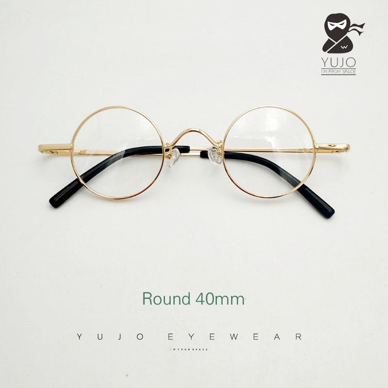نظارة ريترو بإطار معدني دائري للرجال والنساء ، عدسات بصرية لقصر النظر ، قطر دائري 40 مللي متر ، إطار دائري صغير