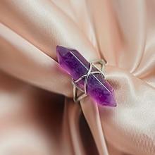 Unique Hexagon Prism Natural Stone Open Rings for Women Girls Handamde Fashion Statement Jewelry Par