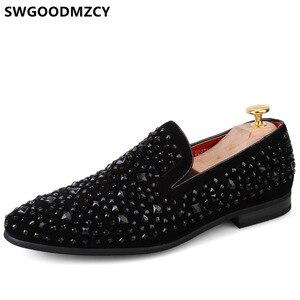 Dress Shoes Men Formal Rhinestone Designer Shoes Men Classic Evening Dresses Italian Loafers Men Party Shoes Wedding Dress 2021