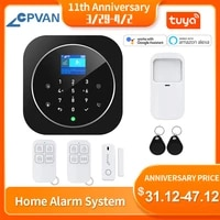 CPVAN     Kit systeme dalarme de securite domestique sans fil  wi-fi  GSM  application Tuya Smart Life  clavier tactile LCD  11 langues  Compatible avec alexa