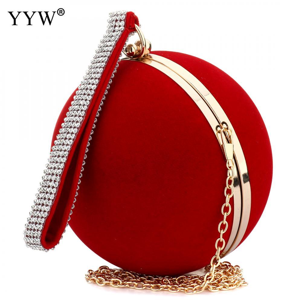 YYW فريد المخملية الحديد على سيدة حقيبة الكتف الأحمر حقيبة صغيرة كروية مساء حقائب صغيرة محفظة سلسلة الكتف Bolsos Mujer
