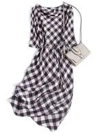 simple and generous beige plaid mulberry silk silk oblique cutting belt medium long womens fashion new dress
