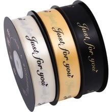 "Cinta de Grosgrain estampada de 45m ""Just for You"", cinta de embalaje de regalo romántico hecha a mano para decoración de bodas, cinta con brillo"