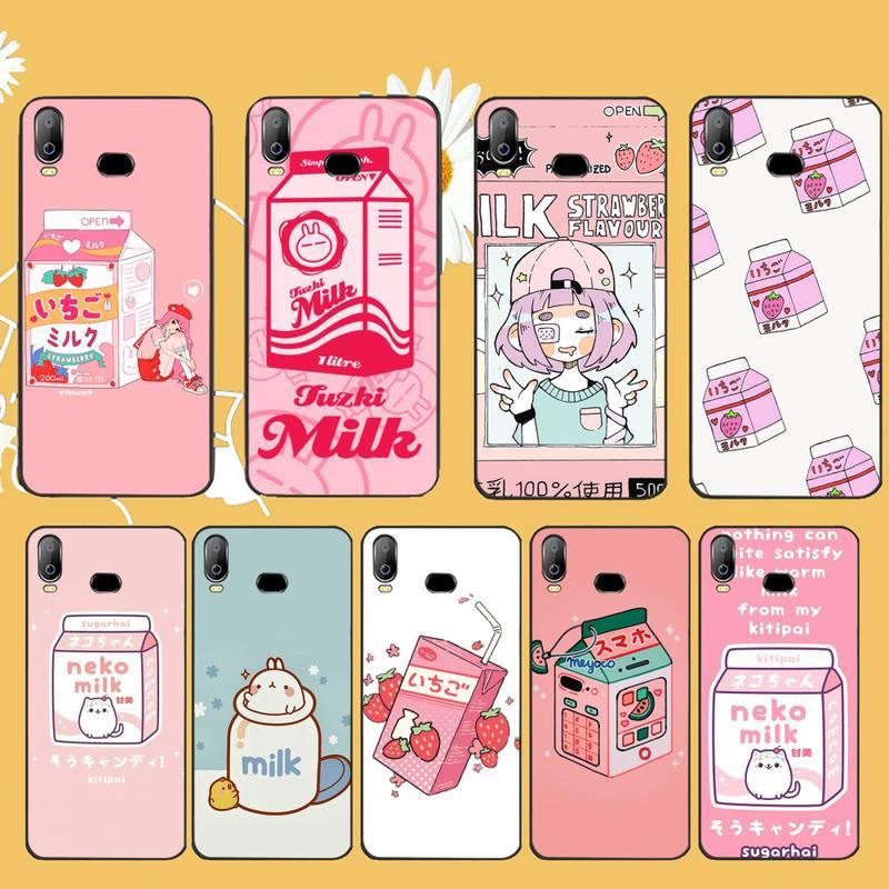16.huwan kawaii capa de telefone, de morango, japonês, preto, de borracha macia, para samsung a10, a20, a30, a40, a50, a70, a71, a51 a6 a8 2018
