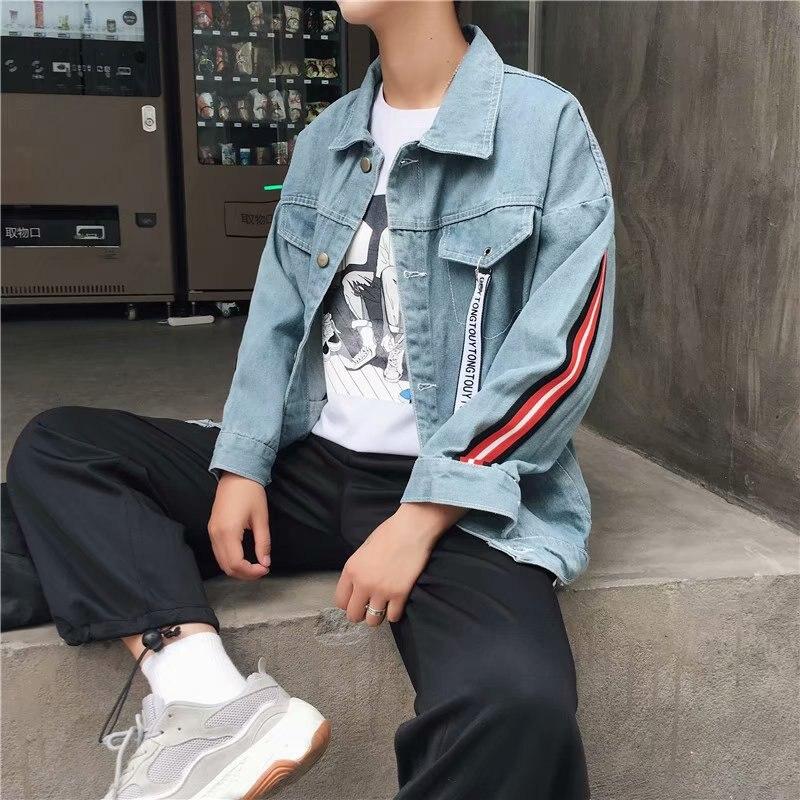 Новая джинсовая мужская куртка литературы и искусства, джинсовая куртка на весну и осень, Студенческая куртка для отдыха, Мужская весенняя ...