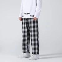 cotton plaid pants mens fashion retro casual pants men streetwear korean loose hip hop straight wide leg pants mens trousers
