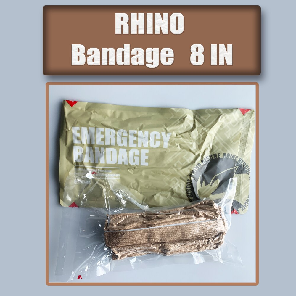 Бандаж для тона кожи RHINO 8 дюймов, аварийный бандаж, компрессионный бандаж, аварийная травма, большие травматические раны