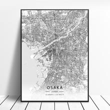 Osaka Sappor Yokohama Tokyo Giappone Tela di canapa di Arte Mappa Poster