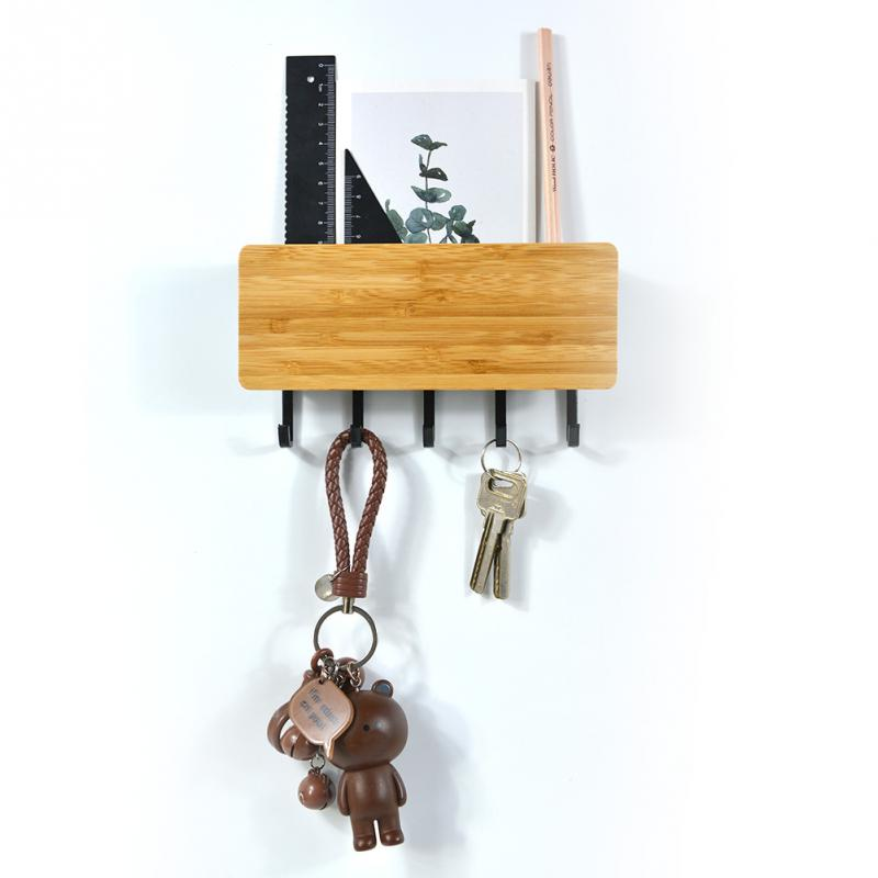 Компактный домашний настенный стеллаж для хранения с крючком винтажная Бамбуковая вешалка для ключей Прихожая домашняя декоративная комната маленькая дверь для спальни винтажная