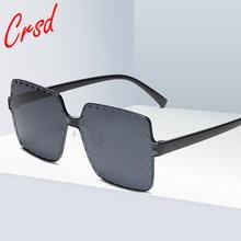 CRSD 2020 Women Brand Design Rimless Female Gradient Glasses Oversized Retro Large Square Sunglasses