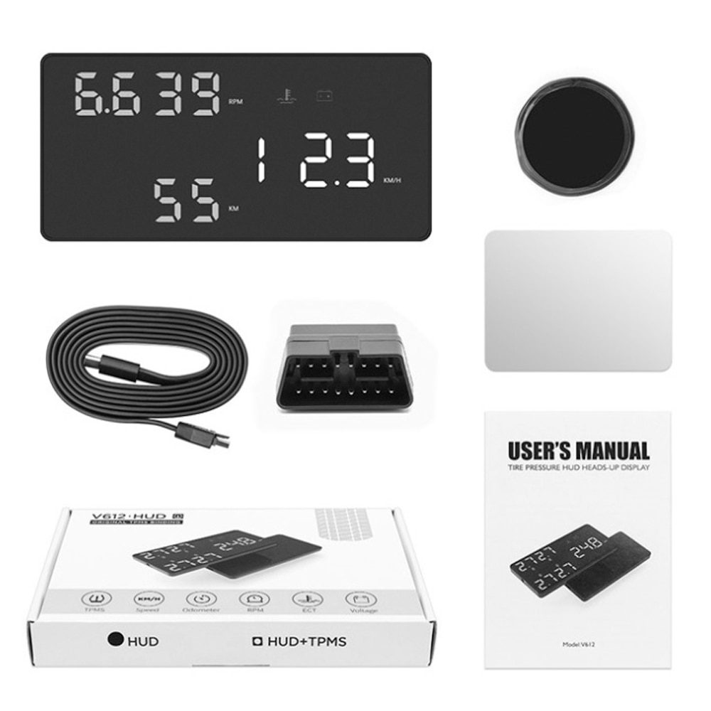 Car HUD OBD RPM Meter Head Up Display System Projector Windshield Accessories Water Temperature Alarm